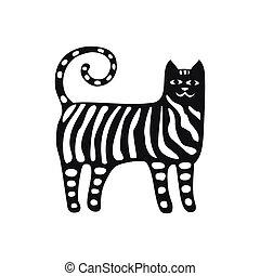 dessin animé, rigolote, noir, collections., silhouette, chats, set., style.