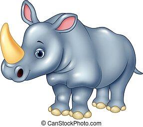 dessin animé, rigolote, rhinocéros, isolé