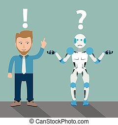 dessin animé, robot, homme affaires, communication, problème