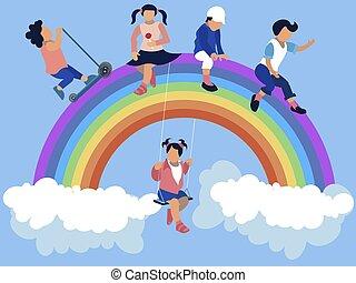 dessin animé, séance, style, minimaliste, rainbow., enfants, plat, vecteur, jardin enfants
