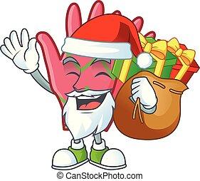dessin animé, sac, cadeau, conception, caractère, noël, santa, gants