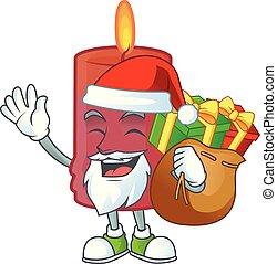 dessin animé, sac, conception, caractère, rouges, bougie, santa, cadeau