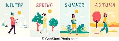 dessin animé, saisons, vêtements, bannières, style, ensemble, femme, plat, différent, marche