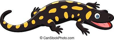 dessin animé, salamandre, heureux