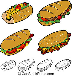 dessin animé, sandwich, ensemble