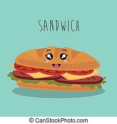 dessin animé, sandwich, nourriture, jeûne, expression faciale, conception, isolé