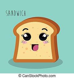 dessin animé, sandwich, pain, conception, isolé