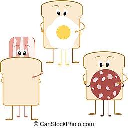 dessin animé, sandwich, pour, petit déjeuner, lard, pain, et, saucisse