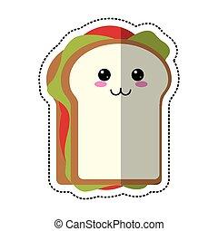 dessin animé, sandwich, savoureux, nourriture