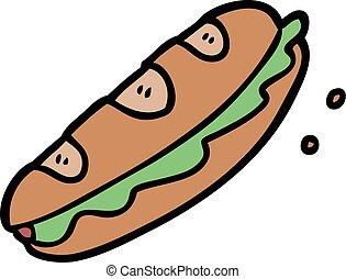 dessin animé, sandwich