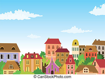 dessin animé, scène urbaine