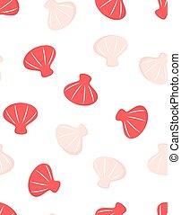 dessin animé, seamless, modèle, coquilles, océan, mignon