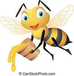 dessin animé, seau, abeille miel