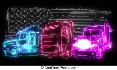 dessin animé, semi, art, vidéo, camion, conception