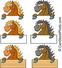 dessin animé, signe blanc, cheval, caractère, sur