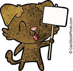 dessin animé, signe, chien, rire