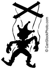 dessin animé, silhouette, marionnette