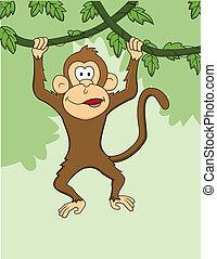 dessin animé, singe, pendre