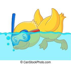 dessin animé, snorkeling, canard