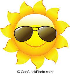 dessin animé, soleil