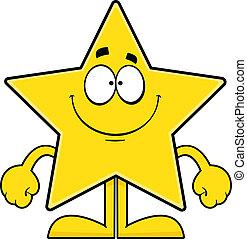dessin animé, sourire, étoile