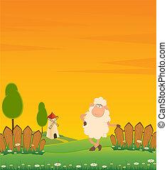 dessin animé, sourire, mouton