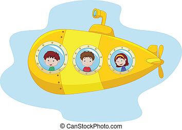 dessin animé, sous-marin, jaune