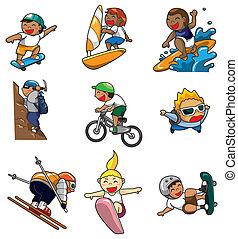 dessin animé, sport extrême, icône