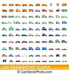 dessin animé, style, ensemble, icônes, 100, transport