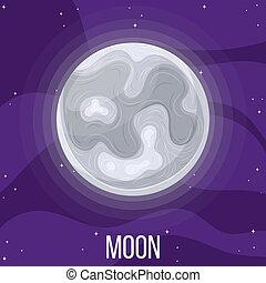 dessin animé, style, moon., space., coloré, vecteur, design., illustration, n'importe quel, lune, univers