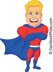 dessin animé, superhero, poser