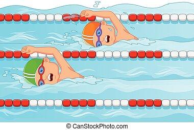 dessin animé, swimmi, jeune, nageur