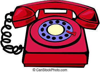 dessin animé, téléphone