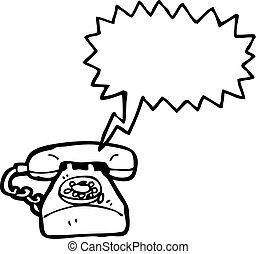 dessin animé, téléphone rouge