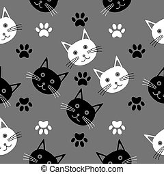 dessin animé, têtes, seamless, texture, cats.