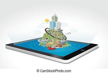 dessin animé, tablette, coloré, ville
