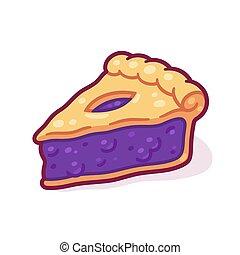 dessin animé, tarte myrtille, couper