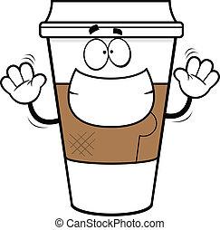 dessin animé, tasse, café, grimacer