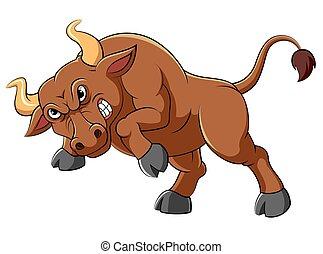 dessin animé, taureau, caractère, fâché
