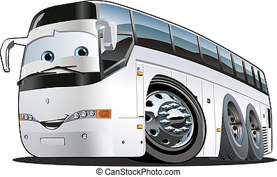 dessin animé, touriste, autobus