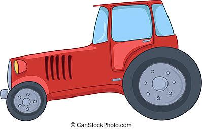dessin animé, tracteur