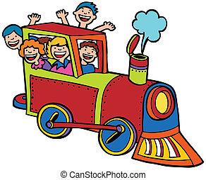 dessin animé, train, cavalcade, couleur
