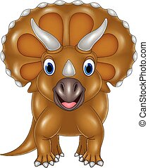 dessin animé, triceratops, isolé