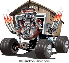 dessin animé, truck., vecteur, garage
