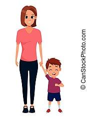 dessin animé, unique, enfants, famille, mère