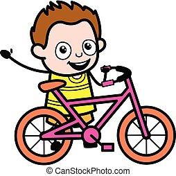dessin animé, vélo, jeune garçon