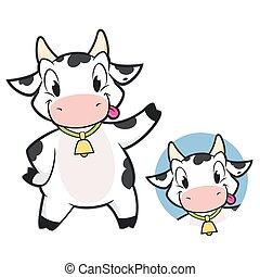 dessin animé, vache