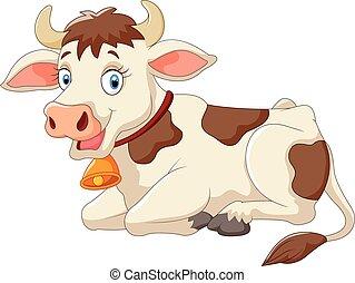 dessin animé, vache, heureux