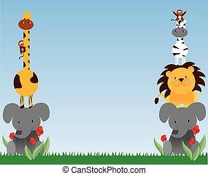 dessin animé, vecteur, animaux, 4, jungle