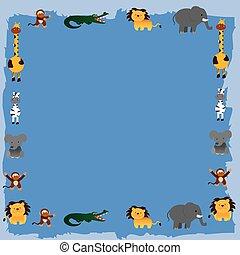 dessin animé, vecteur, animaux, jungle, 6